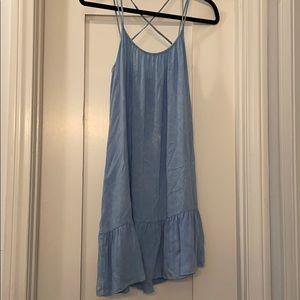 Acid wash Chambray a line ruffle dress